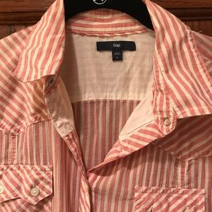 Gap Red and White Striped Button Down